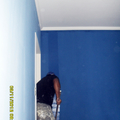 profissional aplicando tinta azul profundo