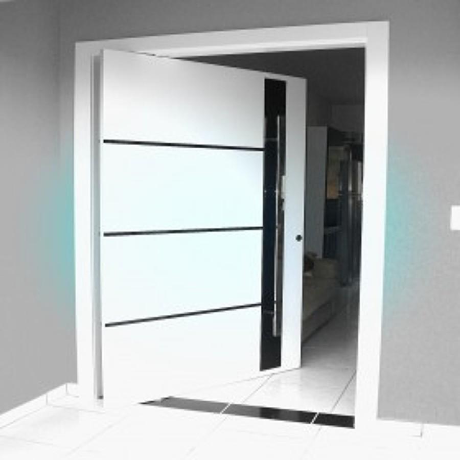 porta pivoltante moderna branca laka sem brilho
