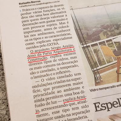 Reportagem no Caderno Bela Casa do Jornal EXTRA 27/02/2021