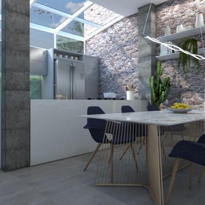 Cobertura em vidro e integração Cozinha e Sala de Jantar, Curitiba