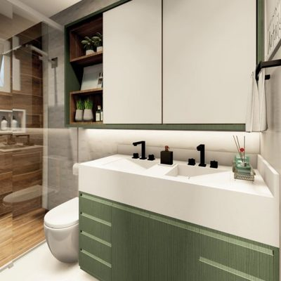 Projeto de banheiro com armários