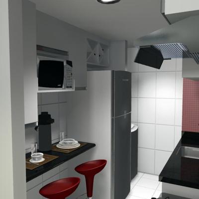 Cozinha com bebedouro embutido e móvel microondas