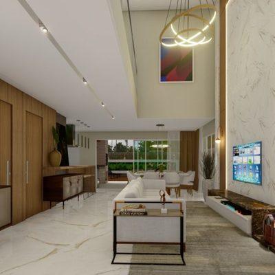 Projeto de Arquitetura e Interiores de Casa em Condomínio