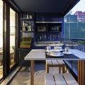 Cozinha pequena Azul Moderna e Contemporânea