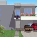 Fachada da casa vista de dentro do terreno
