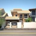 fachada residencia com dois pavimentos .