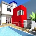 Fundos da casa - piscina com deck elevado