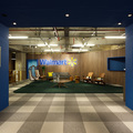 Hall de entrada andar Azul + madeira Noce.