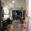 Home Office Integrado com Sala de Estar em Estilo Moderno e Contemporâneo