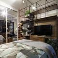 Quarto Integrado com Sala de Estar em estilo Moderno e contemporâneo