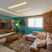 sala com parede de tijolinhos
