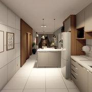 Vista da cozinha, sala de jantar e estar