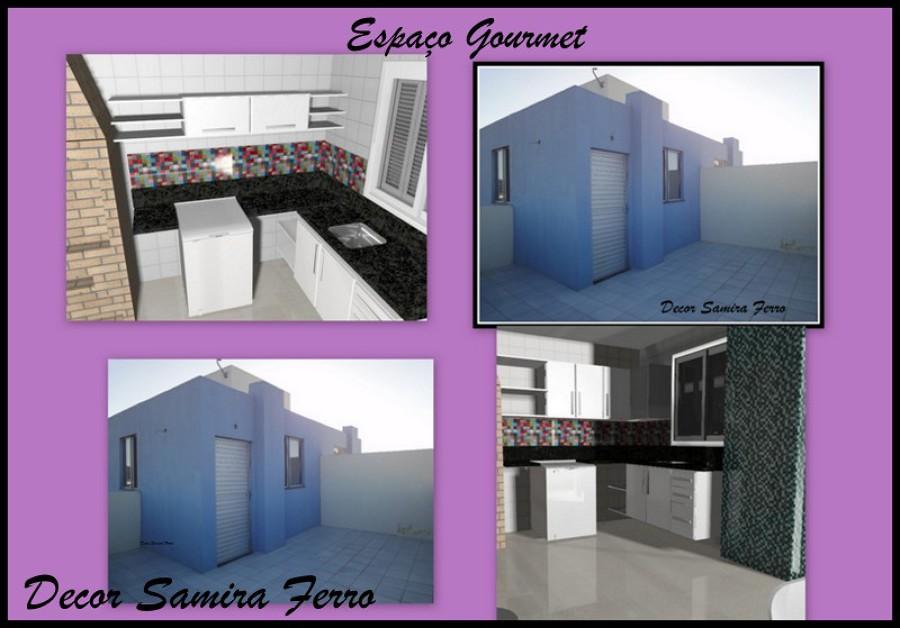"""Antes e projeto 3d """"área gourmet"""""""