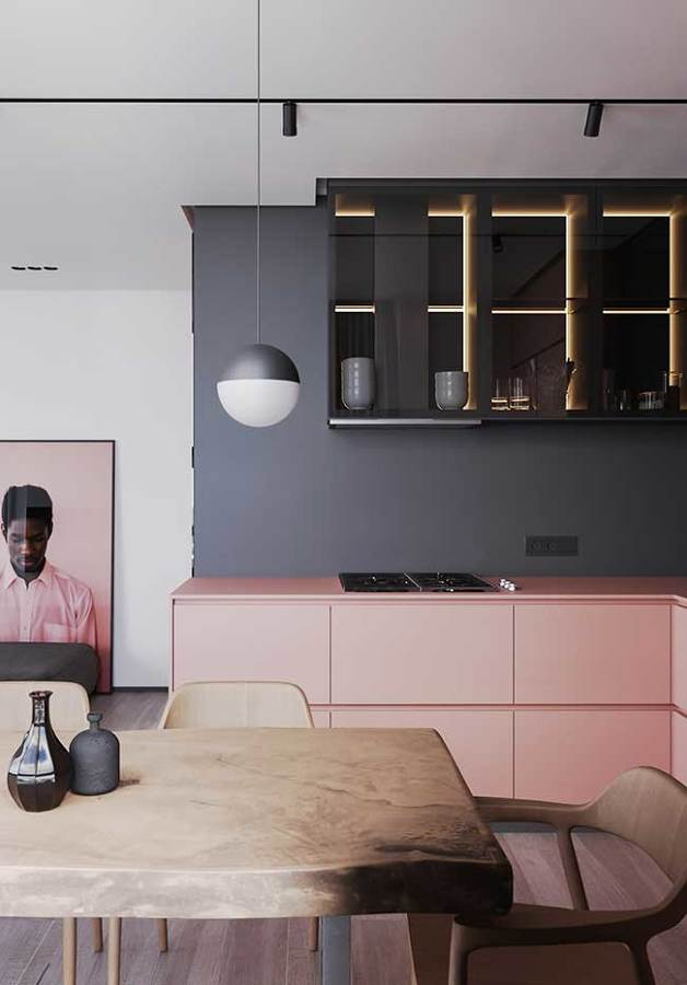 Cinza na cozinha integrada