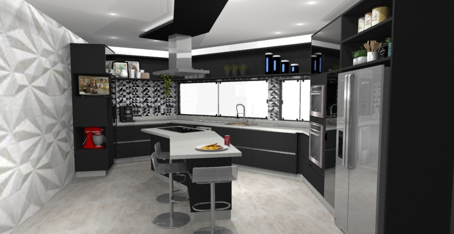 Cozinha ampla - residencial americana