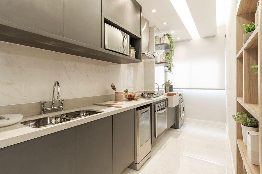 cozinha corredor de estilo moderno