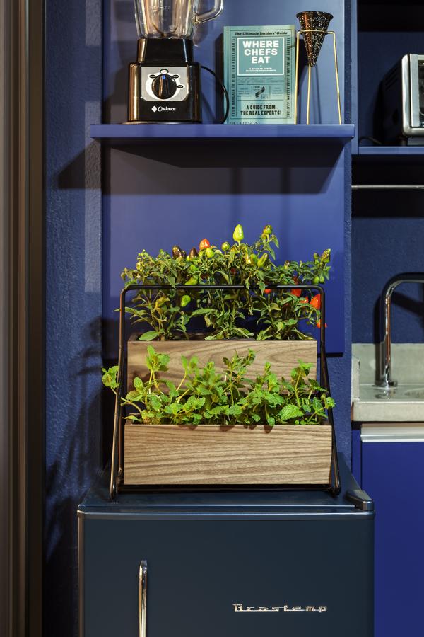 Detalhes de Cozinha Azul Integrada com Varanda Moderna e Contemporânea