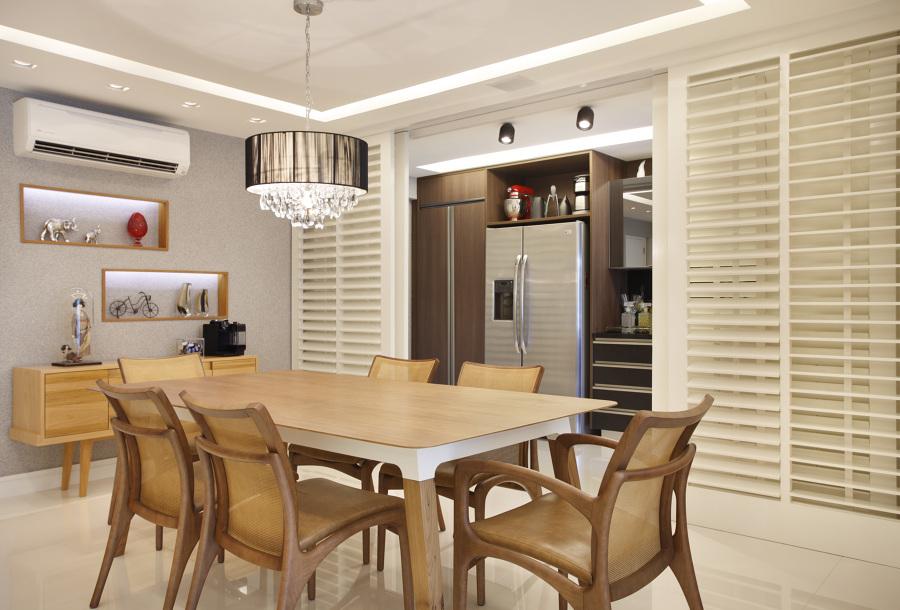 sala de jantar com teto de gesso