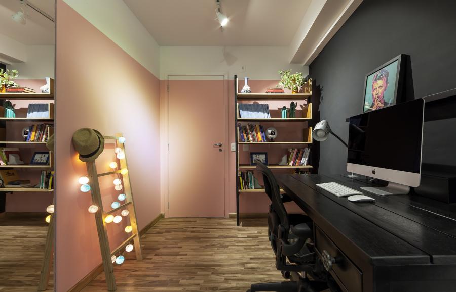 Hall de entrada Integrada com Home Office Moderna e Contemporânea