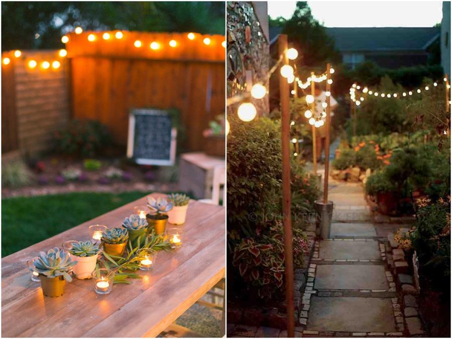 iluminação com velas e fio de luz