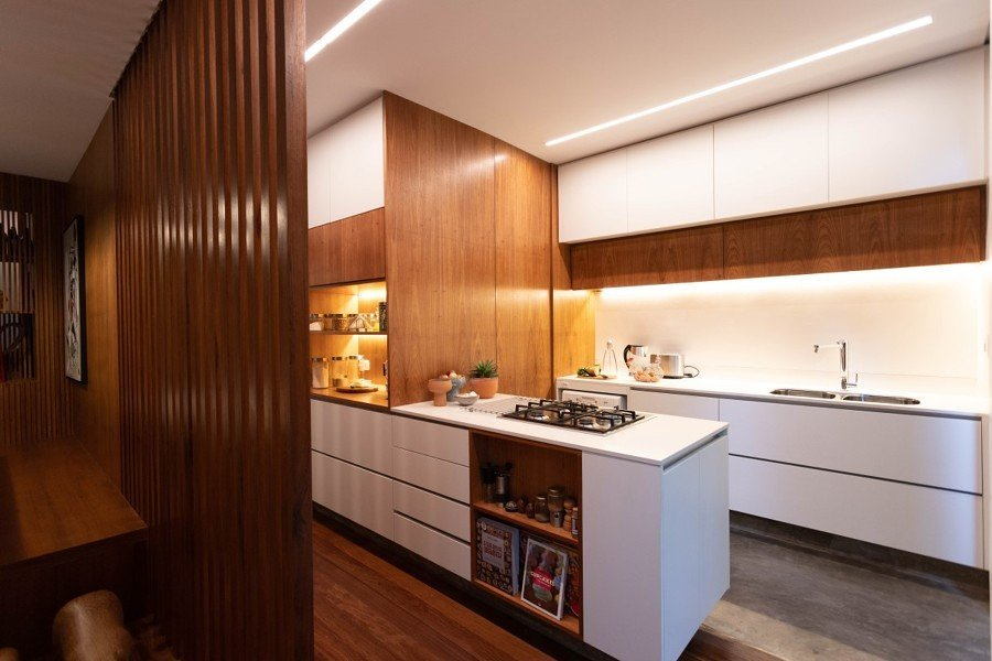Iluminação de LED em cozinha