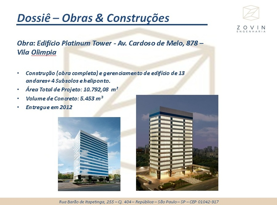 Obra Completa - Platinum Tower