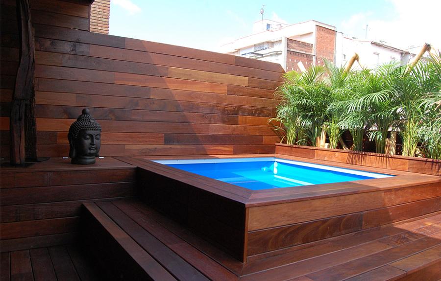 piscina de fibra com deck