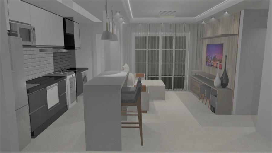 Projeto 3D Apartamento cozinha e sala Paulinia
