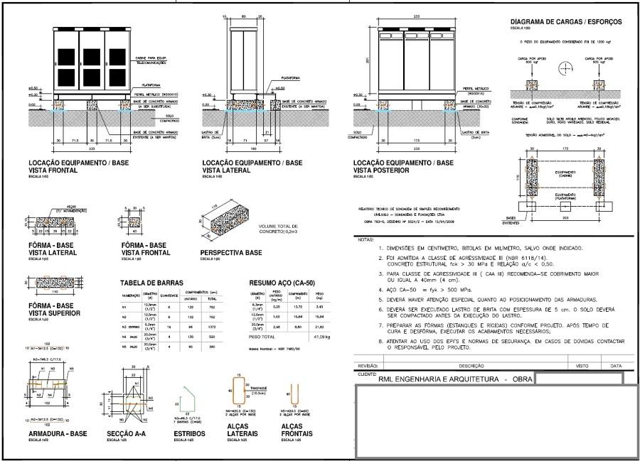 Projeto executivo com diagrama de carga e esforços