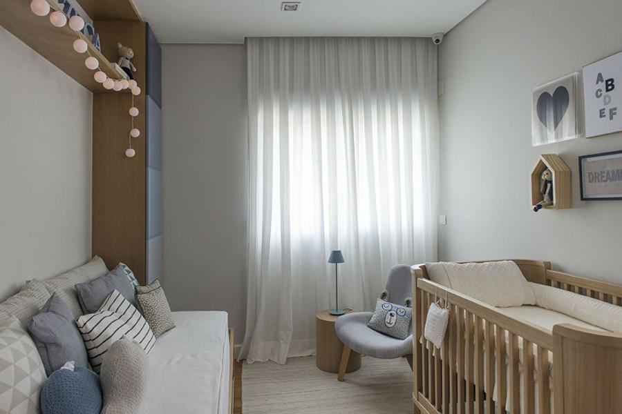 Quarto de bebê com decoração moderna em estilo minimalista