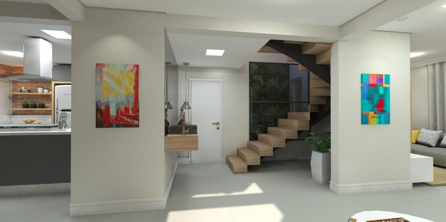 Sala, cozinha e acesso para dormitórios