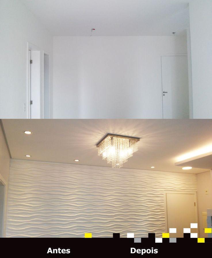 Sala - Gesso - Antes e Depois