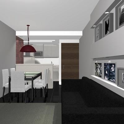 Apresentação de anteprojeto sala e cozinha.