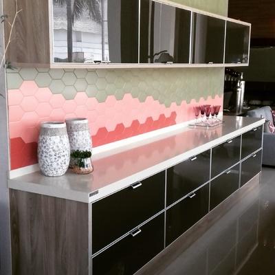 cozinha frente de vidro cor Preta