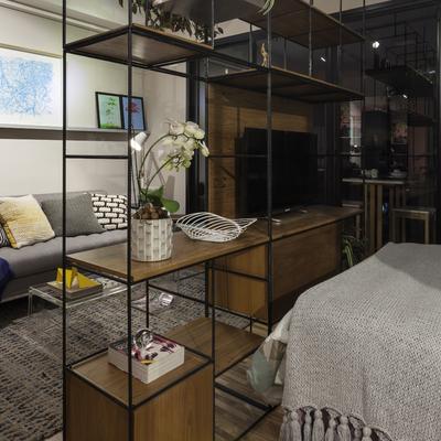 Estante como divisório para Ambiente Integrados em estilo Moderno e Contemporâneo