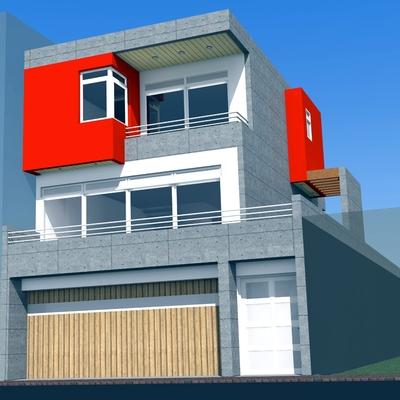 Fachada da residência - com três pavimentos