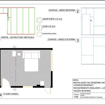 Projeção parede de drywall