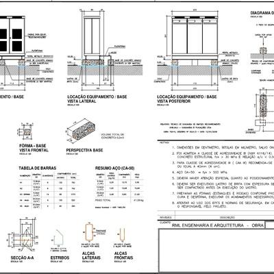 Base de concreto armado para equipamento de 1.2TN