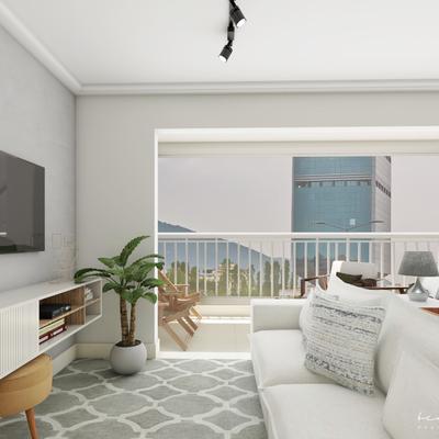 Projeto sala de estar e jantar com varanda integrada