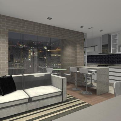Projeto de apartamento - Sala, cozinha e churrasqueira integradas em Curitiba