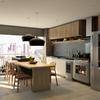 Área gourmet integrada com sala de estar e cozinha.