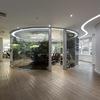 Sala de reunião de vidro redonda