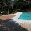 Vista da piscina, ladrilho hidráulico 20x20 para área da churrasqueira
