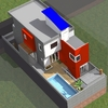 Vista geral da casa com a área de lazer