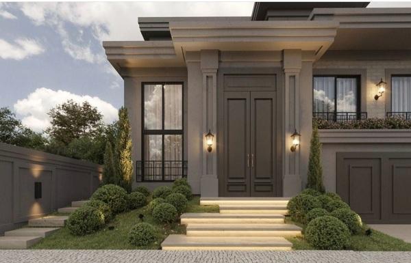 Qual a cor dessa fachada e porta?