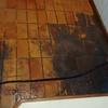 Remoção de cera de piso cerâmico e posterior impermeabilização