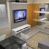 Armário da cozinha, pia e painel para tv de até 46 polegadas